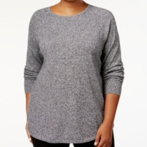 Karen Scott Curved Hem Marled Scoop Neck Sweater
